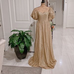 Ricarica Gold color sparkle maxi Dress Size L